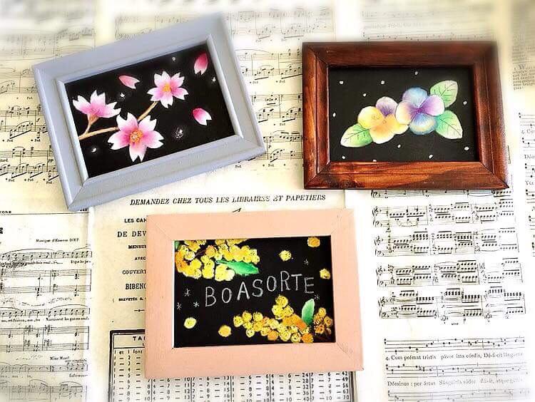 お花のチョークアートボード作り